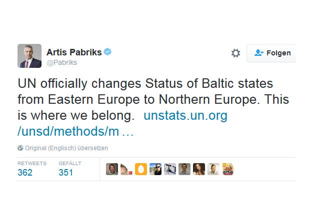 Tweets Artis Pabriks Nordeuropa
