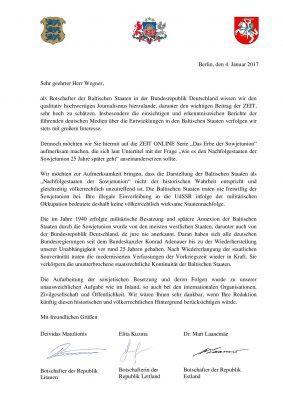 Brief Botschafter Zeit-Online