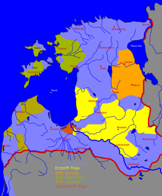 Karte Estland Lettland im Mittelalter