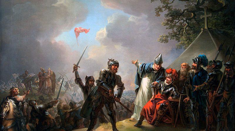 Der Dannebrog fällt während der Schlacht von Lyndanisse vom Himmel