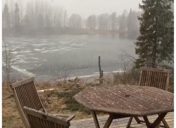 Schneefall in Nordschweden