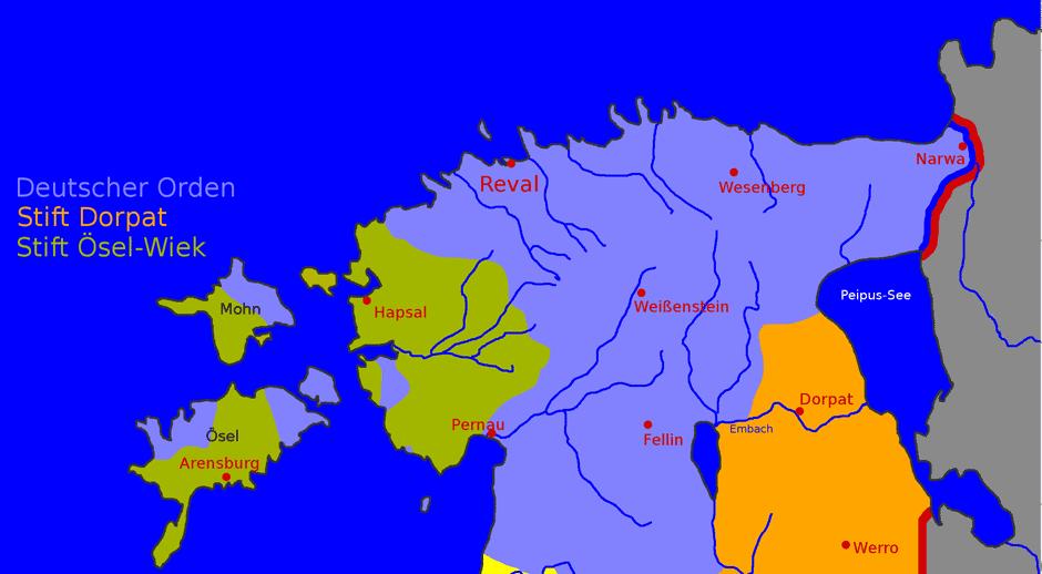 Karte Herrschaftsverteilung in Estland um 1343