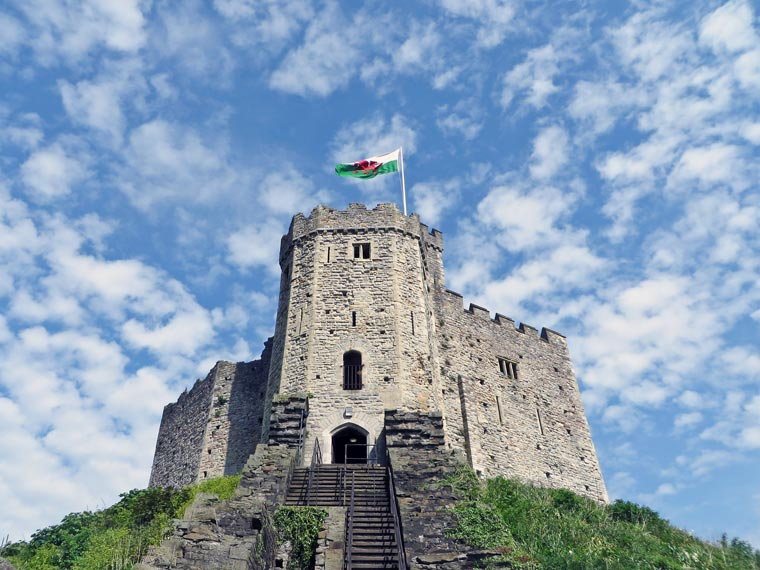 Der normannische Keep des Cardiff Castle