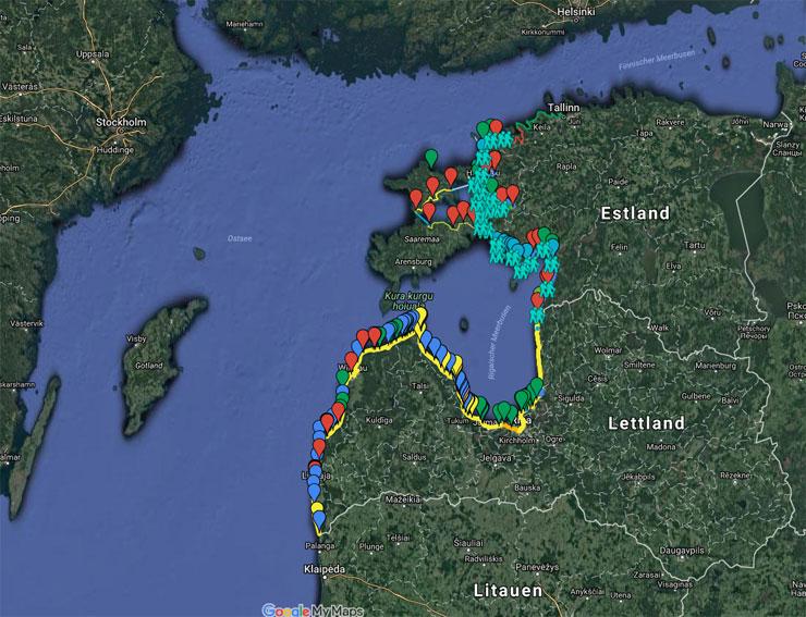 Wanderroute an der Ostseeküste (Fernwanderweg E9)