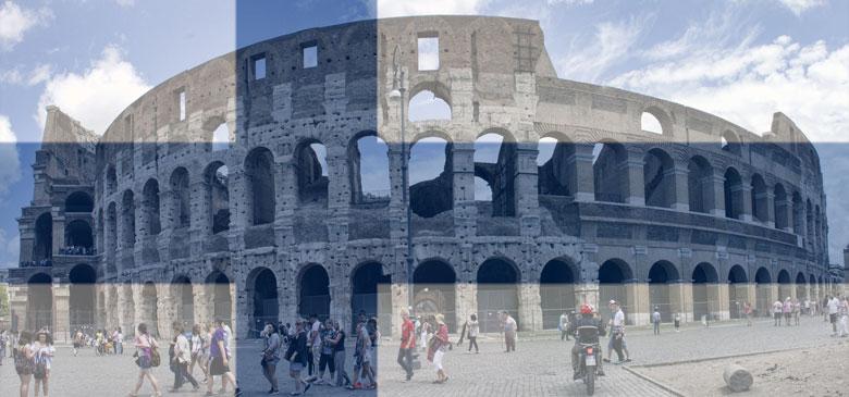 Kolosseum in Rom mit finnischen Farben