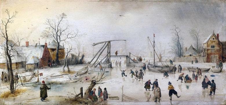 Szene-auf-dem Eis von Hendrick Avercamp