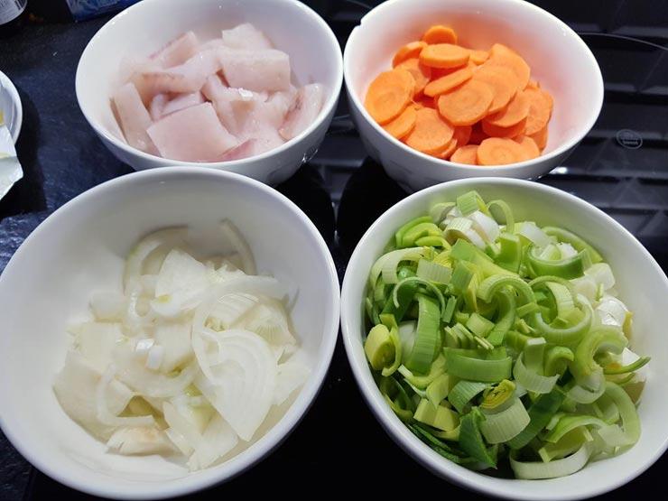 Zutaten geschnitten