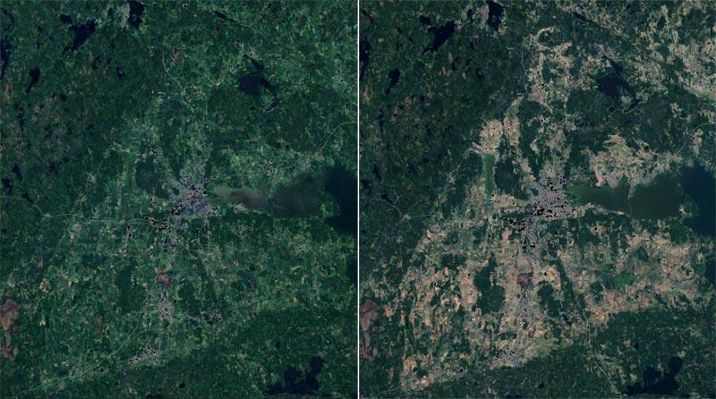 Satellitenbild: Örebro Trockenheit