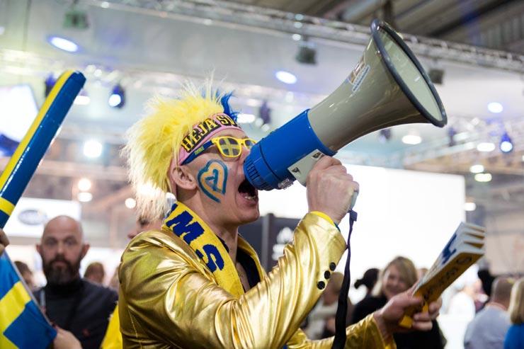 Anhänger des schwedischen Teams