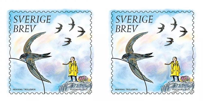 Briefmarke Greta Thunberg Schweden