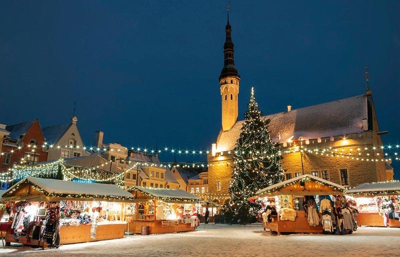 Weihnachtsbaum Weihnachtsmarkt Tallinn