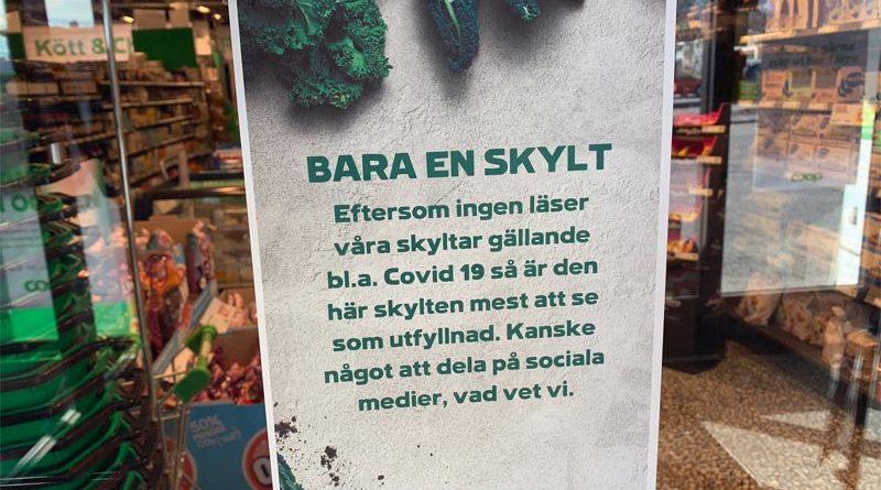 Corona Schild Laden Schweden