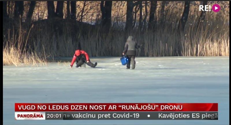 Drohne vertreibt Menschen vom Eis