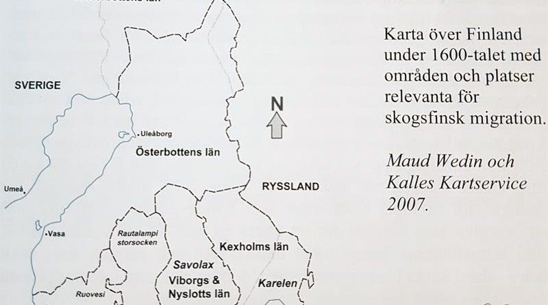 Karte von Finnland Waldfinnen 1638