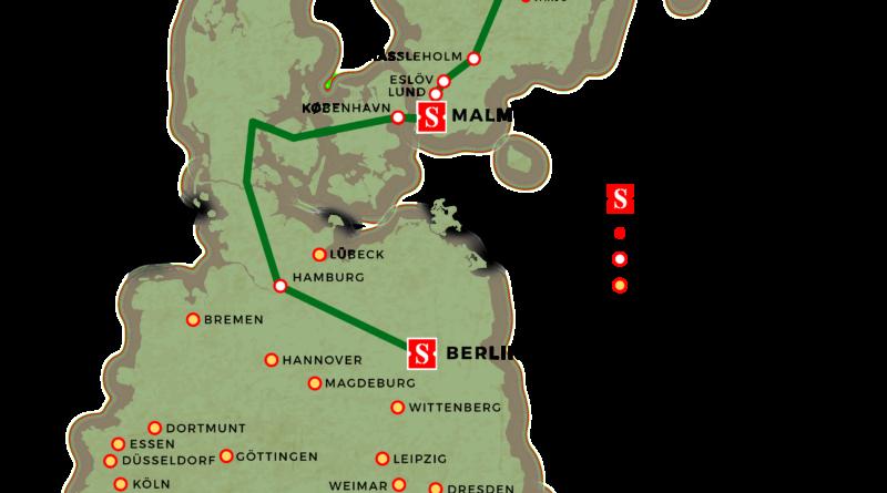 Nachtzug Schweden Deutschland Streckenverlauf