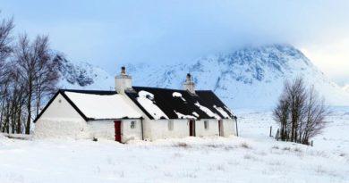 Erster Schnee Schottland